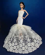 Royalty Mermaid Dress Party Dress/Wedding Clothes/Gown For Barbie Doll F08B