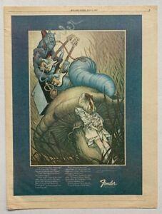 FENDER vintage 1975 BASS GUITAR ADVERT ALICE IN WONDERLAND Magic Mushroom