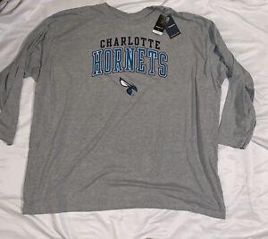 Men's Charlotte Hornets Fanatics Branded Gray Long Sleeve Shirt NWT 6XL