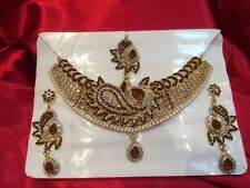 Bollywood Indian Bridal Necklace Earrings Tikka Jewellery Gold Brown White N80