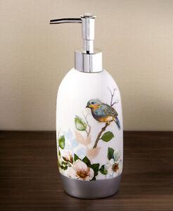Bluebirds Soap Lotion Pump Dispenser Birds on Perch Floral Garden Kitchen Bath