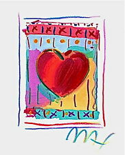"Heart Series II, Limited Edition Lithograph Mini 5"" x 4"" Peter Max SIGNED w/ COA"