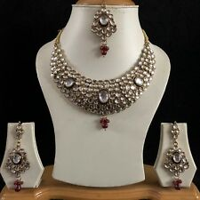 GREEN RED GOLD KUNDAN INDIAN COSTUME JEWELLERY NECKLACE EARRINGS CRYSTAL SET 071