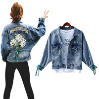 Womens Embroidery Jeans Ripped Frayed Denim Jacket Oversized Short Coat Outwear