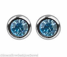 1x Pair of March Birthstone 4mm Aqua Crystal Gem Ear Studs Earrings + gift bag