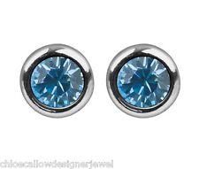 1x Pair of March Birthstone 4mm Aqua Crystal Gem Ear Studs Earrings + gift bag
