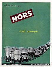 PUBLICITE MORS ASPIRATEUR APPAREIL MENAGER DE 1951 FRENCH AD PUB VINTAGE COULEUR