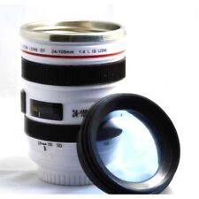 White Camera Lens Cup Mug Stainless Steel Plastic EF 24-105mm Coffee Tea Thermo