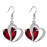 Luxury Ruby Red Zircon & Silver Two Hearts Drop Dangle Women Girl Earrings E954