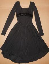 Long Sleeve Black Skate Ice Skating Dress Velvet Back Bow Nwot Girls Med 74996L