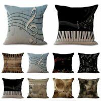 Cotton Linen Music Note Pillow Case Waist Throw Cushion Cover Sofa Home Decor