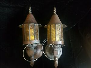 Antique Copper Arts & Crafts Porch Light Sconces Hammered Tudor