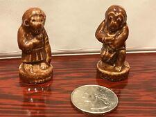 Brown Circus Monkeys WADE England Miniature Figurine Glaze Red Rose Tea 1970's