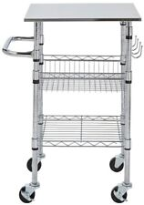 Small Kitchen Cart/Service Trolley Chrome-Stainless Steel Top w/ Locking Casters