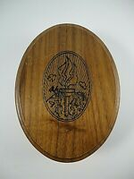 Vintage Oval Wood Trinket Jewelry Box w/Lid & Etched Design Olympic Flame-Nature