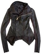 RICK OWENS Black Blistered Leather Peplum Gothic Biker Naska Jacket Coat US 6
