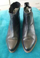 ASOS Black Ankle Boots Leather Size 4 Boho Cowboy
