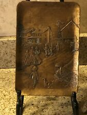 """Wendell August Forge Solid Bronze Tray Visiting/Coming To Work  9"""" X 6"""""""