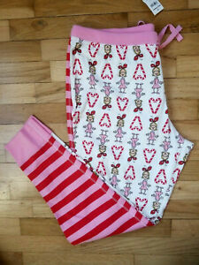 NWT HANNA ANDERSSON WOMEN'S GRINCH CINDY LOU MIX IT UP STRIPE PANTS L 12 14