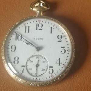 SPLENDID ELGIN Gold Plated Open Face Pendant Pocket Watch 12s, 7Js 1916 FWO