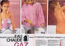 PUBLICITE ADVERTISING 084 1964 EAU CHAUDE avec appreil au Gaz (2 pages)