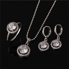 Women Wedding Bridal Party Crystal Rhinestone Necklace Earring Ring Jewelry Sets