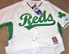 NEW AUTHENTIC CINCINNATI REDS ST.PATS DAY MLB MAJESTIC COOL BASE JERSEY 44 SEWN!