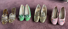 Town & Country Vintage Gold Metallic Pumps & 3 Jack Rogers- Green, Pink Size 9S