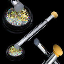 Dual-ended Nail Art Brush Stamper Sponge Design Rhinestone Handle Blooming Pen