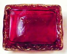 Ruby Stain Trinket Box Souvenir Buffalo NY Early American Pattern Glass Antique