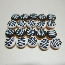 20 Loose White and Chocolate Donuts Dollhouse Miniatures Food  Bakery Deco