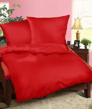Mako Satin Bettwäsche Set 200x200 Rot Uni Übergröße 200 x 200 cm Baumwolle 100%