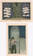 Germany 75 Pfennig 1921 Notgeld Kahla UNC Banknote - Skeleton Paris Eiffel Tower
