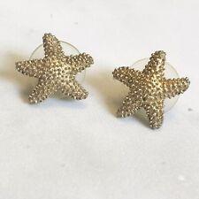Metal Post Back Euc Starfish Earrings Antique Gold Tone