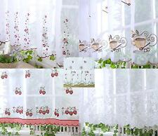 """Embroidered White Cafe Net Curtains 18"""" 24"""" 33"""" 38""""  Sold by Meter - Pure Voile"""