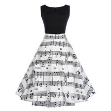Women's Vintage Style 1950s Sleeveless Music Note Print Party Casual Dress