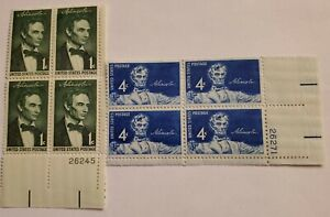 #1113 and 1116 pair of Plate Blocks of Abraham Lincoln, $.01 and $.04