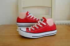 CONVERSE ALL STAR CHUCK TAYLOR LOW TOP RED CANVAS SNEAKER TRAINER SHOES UK 4