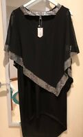 NWT BLACK PLUS SZ HIGH LOW DRESS WITH CHIFFON OVER AND SILVER SEQUINS - SIZE 2XL