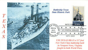 USS TEXAS BB-35 US Navy Battleship Photo Cachet Texas Museum Ship Pictorial PM