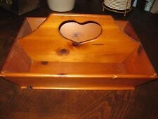 ANTIQUE AAFA VINTAGE OLD EX LARGE WOOD HEART HANDMADE TOTE TRAY DIVIDED CUTLERY