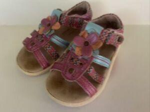 Stride Rite SRT Toddler Girl 4.5M Brenna Sandals Leather Pink Fuchsia Blue