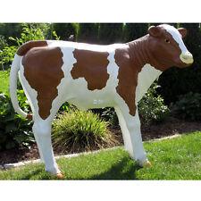 KALB RESI lebensgross 120 cm braun weiß KUH KÄLBCHEN  Deko Tier Figur Skulptur