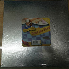 "Kingfisher 12""/30cm Thin Square Cake Board Foil Covered & Wrapped. Home Baking."