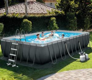 Intex 24ft (7.3m) x 12ft (3.6m) Ultra XTR Rectangular Frame Pool + Sand Filter
