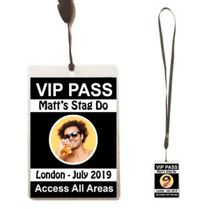 Personalised STAG DO Birthday Party VIP Pass Lanyard + Photo Badge /Card Night