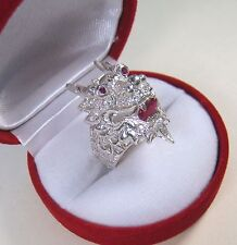 1.51 CTW RUBY & WHITE SAPPHIRE DRAGON RING sz 7.5 WHITE GOLD/925 STERLING SILVER