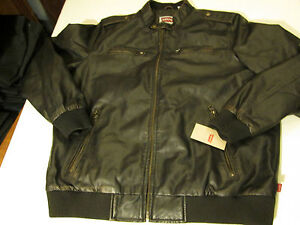 LEVI STRAUS FAUX-LEATHER TRUCKER MOTORCYCLE JACKET MENS SIZE X-LARGE- BROWN- NWT
