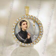 St Gemma Galgani Medal Christian Catholic Pendant Gold Tone Religious Jewelry