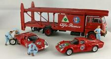 Brekina LKW Fiat 642 Renntransporter-Set mit  mit 2 x Alfa Dytona+ 4 Figuren